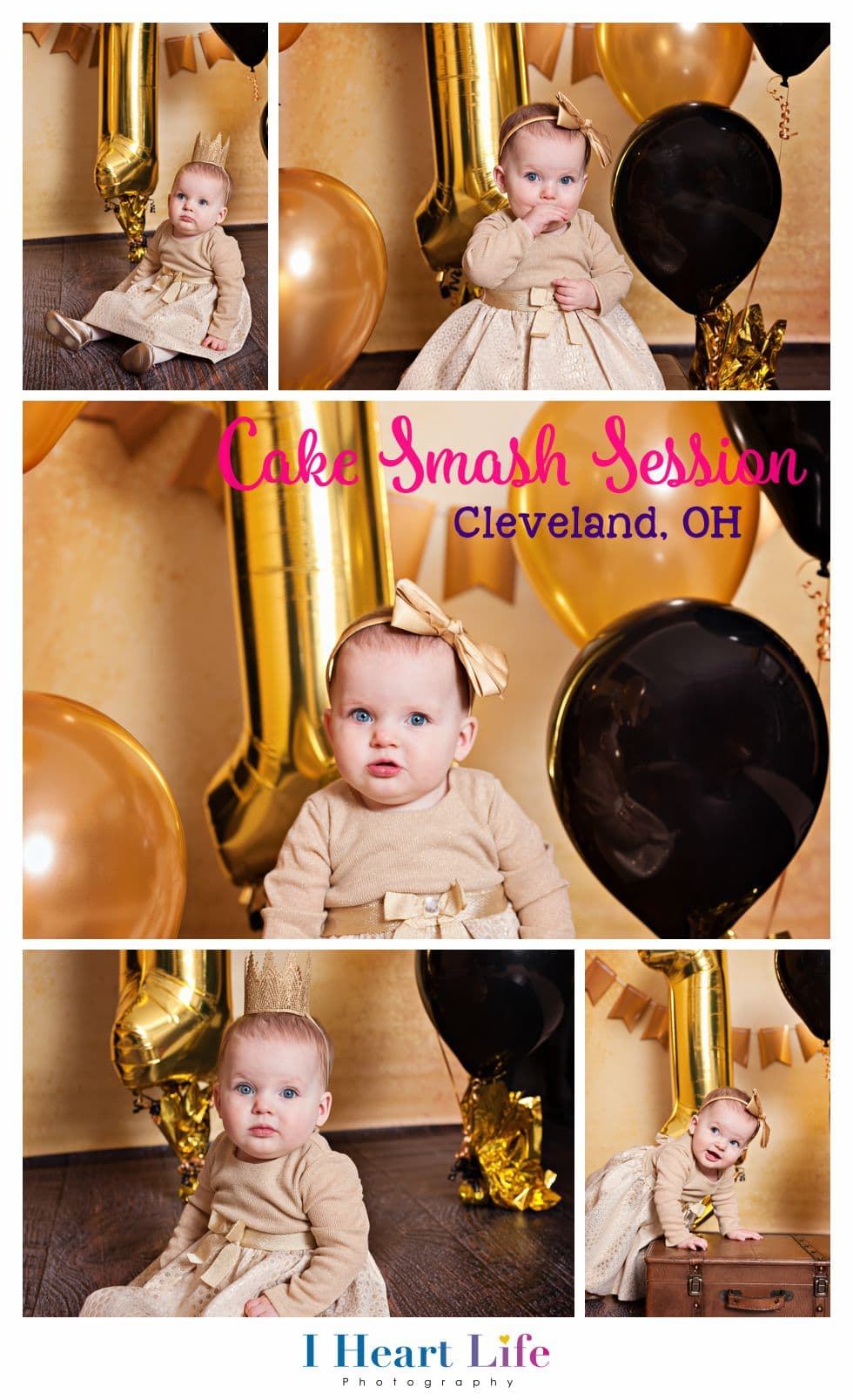 Children photo session for first birthday - Black & Gold New Year Theme