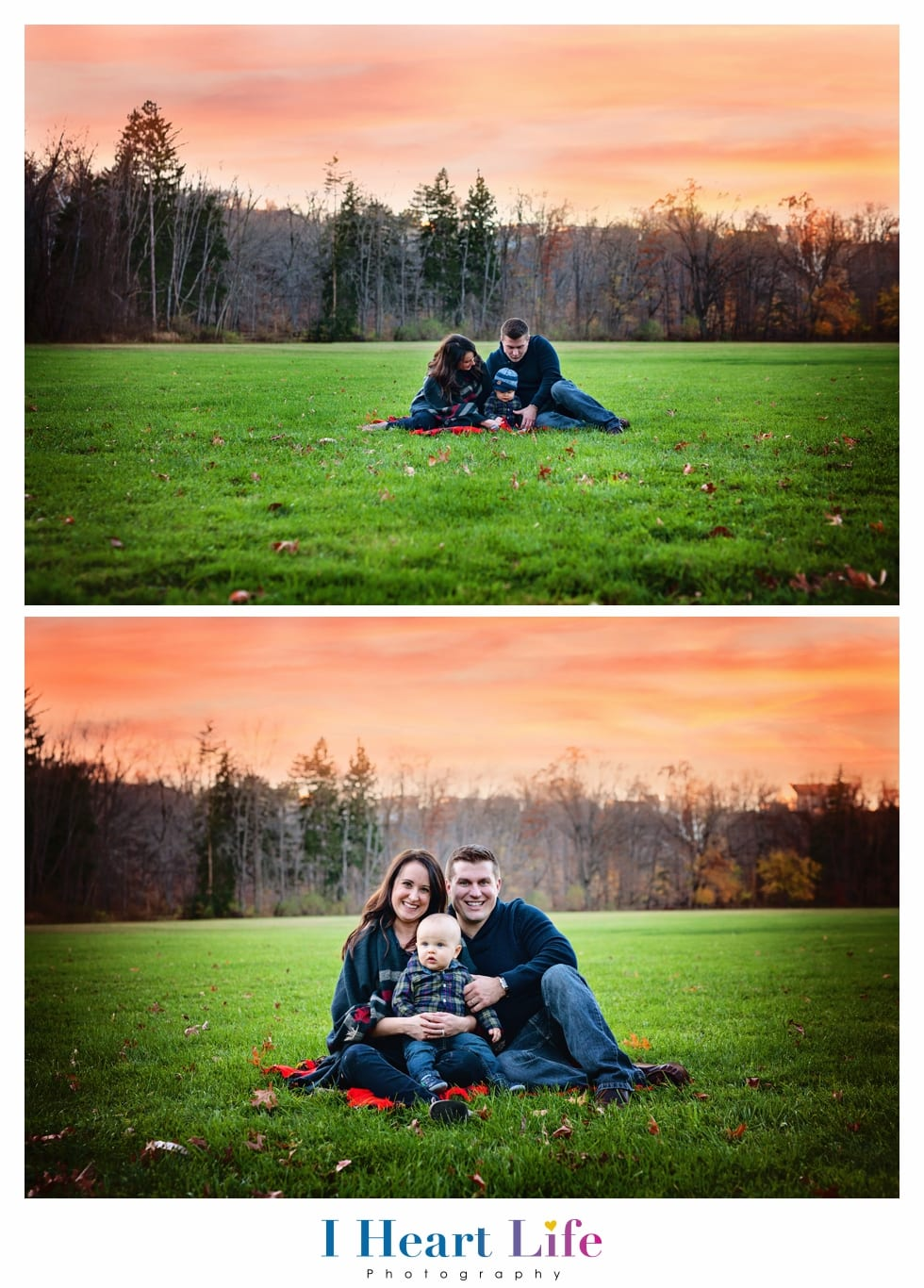 Beautiful sunset family photo at Rocky River Metroparks