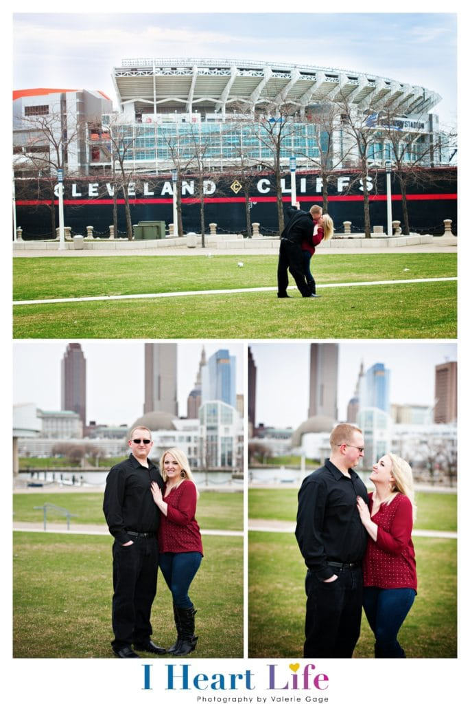 Couple from Westlake Ohio, engagement session in Rock & Roll Hall of Fame