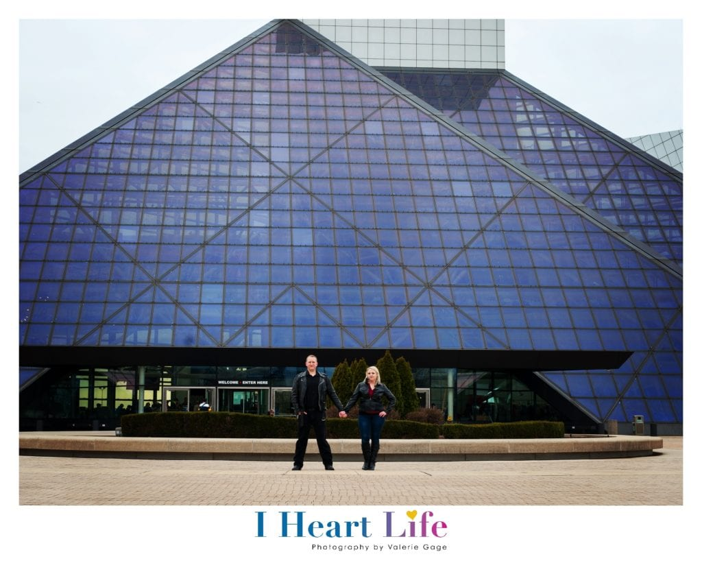 Couple stand in front of Rock & Roll Hall of Fame