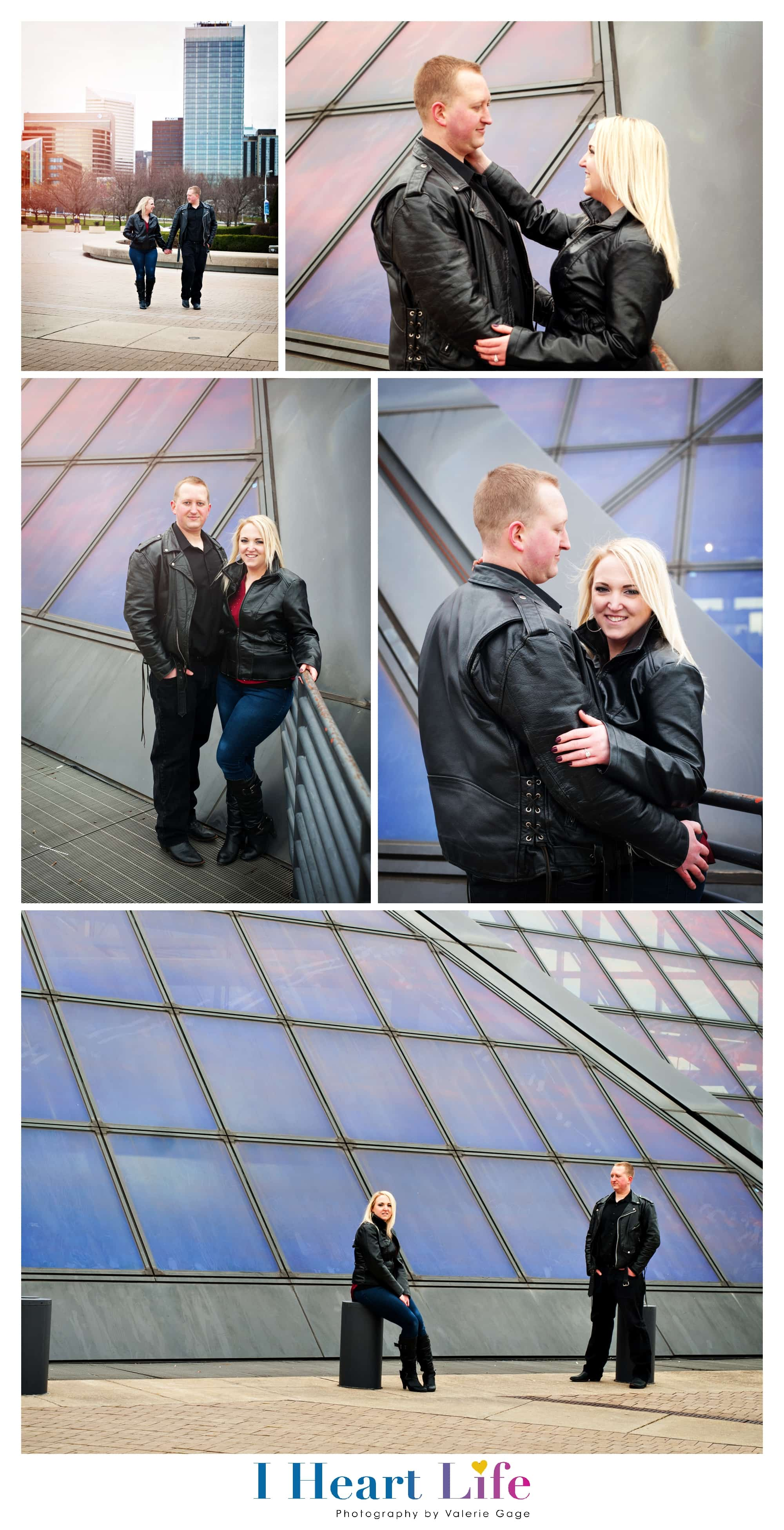 Engagement photo shoot with Rock & Roll Hall of Fame in the background