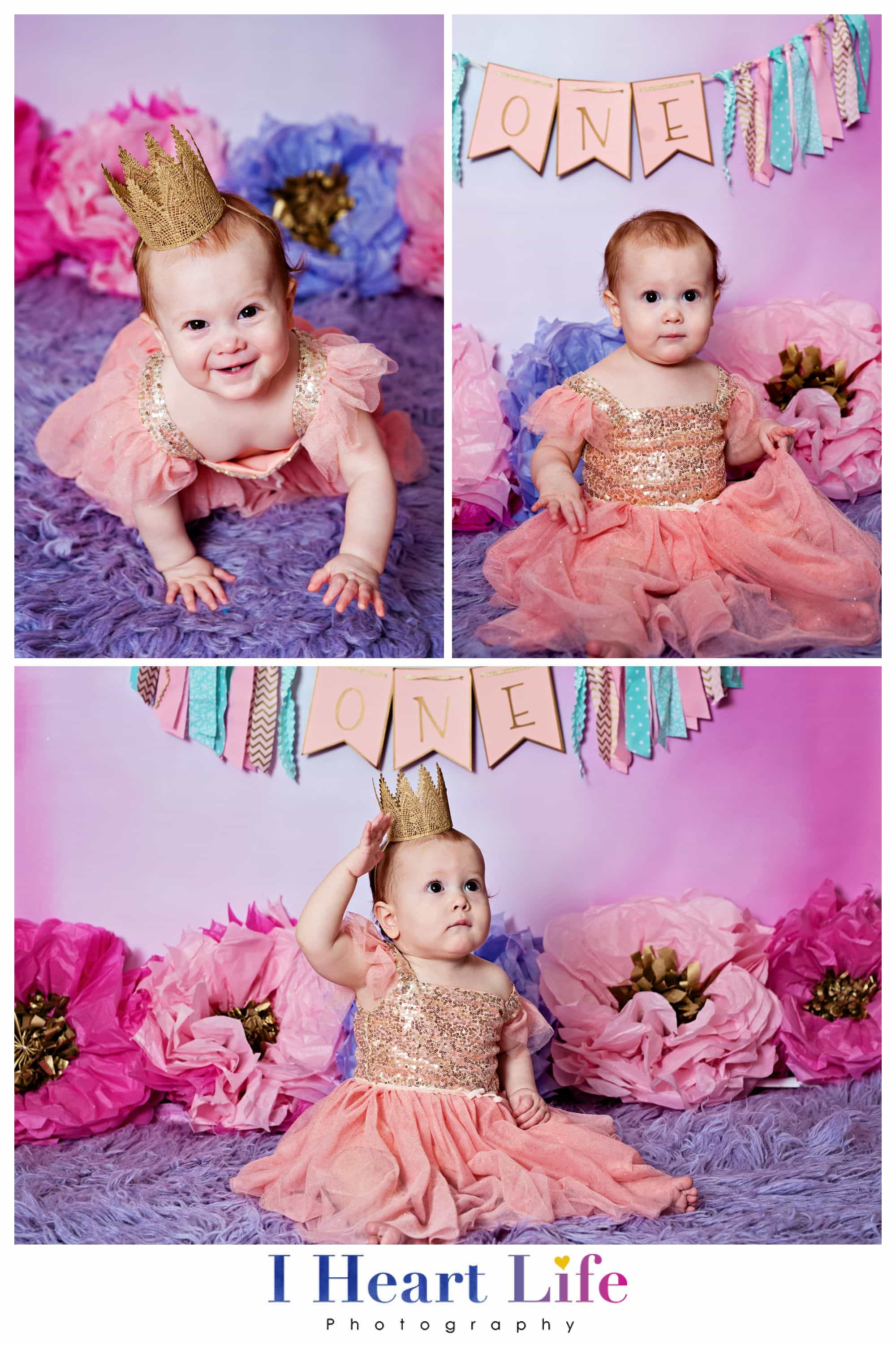 Cake Smash Photos with pink backdrop and purple decor