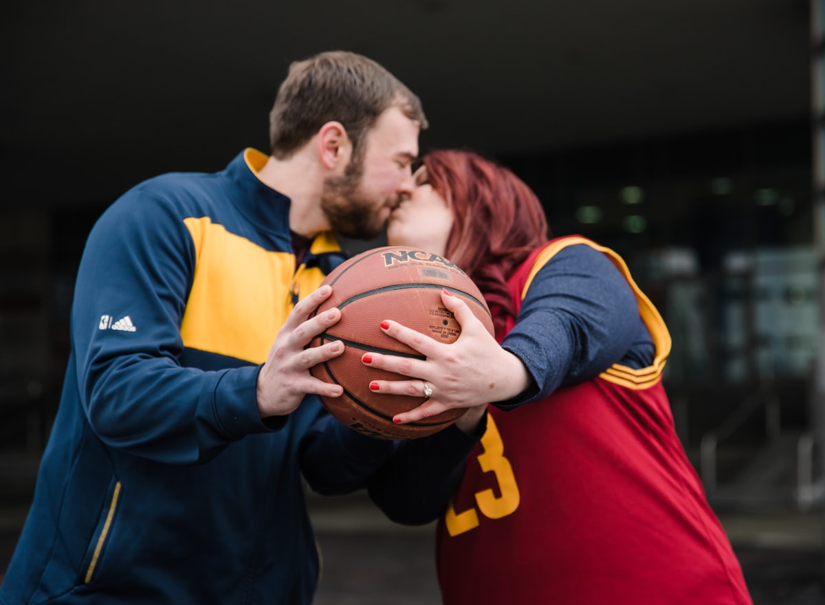 Cleveland Engagement Session in Downtown-Basketball Themed