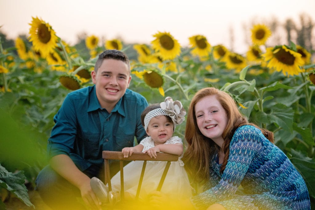 kids pictures at sunflower field